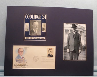 Calvin Coolidge runs for Re-Election in 1924 & First day Cover of his own stamp