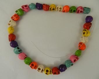 Magnesite Howlite Skull Beads 16 inch Strand 10mm Jewelry Craft Supplies Magnesite Skulls