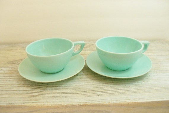Vintage Melamine Cups and Saucers Sun Valley Melmac Dinnerware Aqua 4 Pieces 1960s
