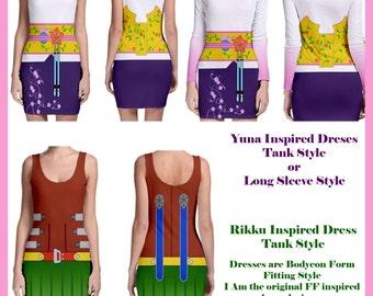Final Fantasy 10 Yuna and Rikku inspired dresses