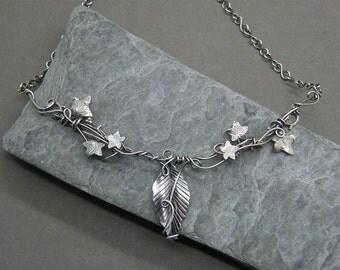 Statement leaf necklace ~ Silver leaf necklace ~ Sterling silver leaf necklace ~ Ivy leaf jewelry ~ Ivy necklace ~ Bohemian wedding jewelry