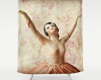 Dance with Sparkles Shower Curtain: home decor, bathroom, pink