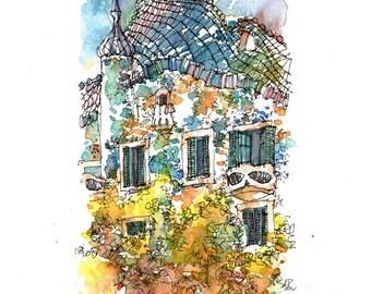 Casa Batlló LIMITED EDITION PRINT / Antoni Gaudí. Eixample, Barcelona / drawing Barcelona