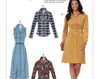 McCall's Sewing Pattern M7470 Misses' Button-Down Shirt and Shirtdresses with Belt