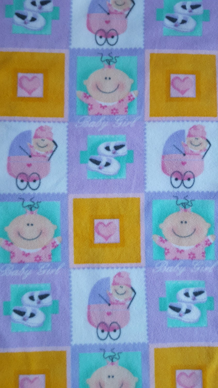 Fabric by the yard baby girl squares polar fleece for Baby fabric by the yard