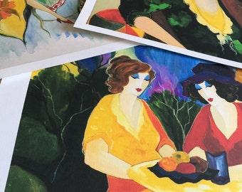 Itzchak tarkay art 3 pc. Collection  (1935-2012) portrait ladies lithograph large prints