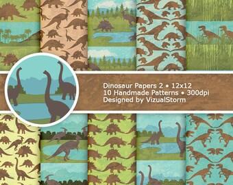 Dinosaur Digital Paper Watercolor Birthday Backgrounds Dinosaur Scrapbooking Pattern Printable Jurassic Park Digital Paper Dinos Trees Water
