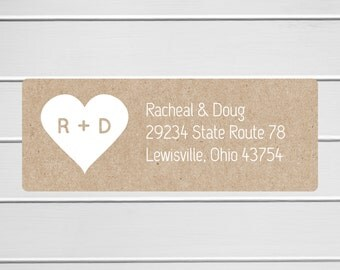 Kraft RSVP Address Labels, Kraft Wedding Stickers, Return address stickers for invitations (#307)