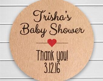 Baby Shower Stickers, Baby Shower Labels, Brown Paper Stickers, Kraft Stickers (#198-KR)