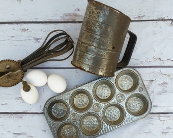 Vintage cupcake muffin tin pan, food photography props, vintage food props, country farmhouse cottage chic