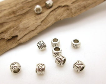 Tiny Silver Big Hole Spacer Tube Beads, 4mm (10)