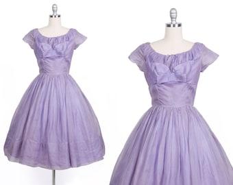Vintage 1950s dress // 50s purple evening prom dress