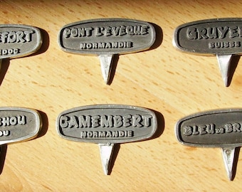 Vintage French Cheese Labels Markers.   Table Decoration
