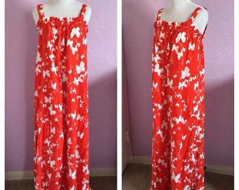 Vintage Butterfly Sundress. Vintage 1960's Sundress. Vintage Hawaiian Sundress. 1960's Butterfly Print Dress. Vintage Muumuu.