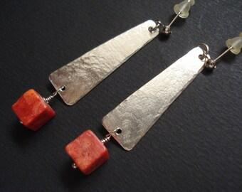 Silver Hammered Red Coral Modern Earrings Contemporary Metalwork  Stud Modern Earrings