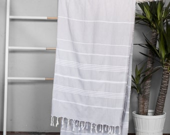 Turkish Towel Light Gray | Authentic Beach Towel Travel Throw Free Shipping Bath Towel Fouta Turkish Cotton Yoga Spa Blanket Sarong  TAL06