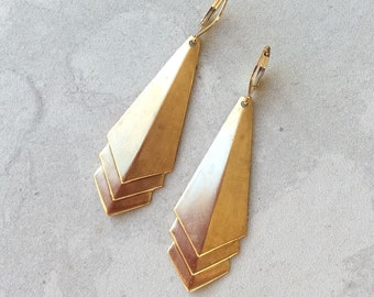 Gold Art Deco Earrings