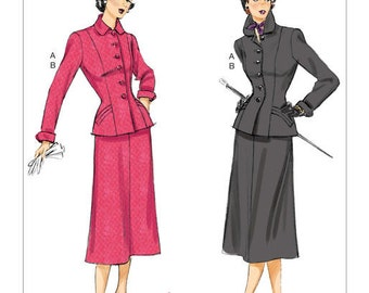 Butterick Pattern B6379 Misses'/Misses' Petite Jacket with Shaped Pockets and Mid-Length Skirt