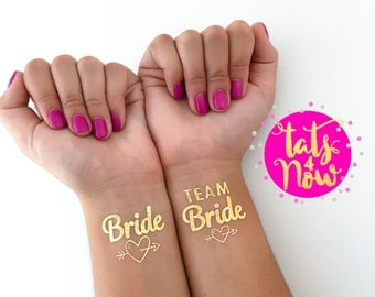 Temporary Tattoos - Gold Tattoos - Bachelorette Favors - Bachelorette Party - Bride Tattoos - Team Bride Tattoos - Hen Party - 16 gold heart