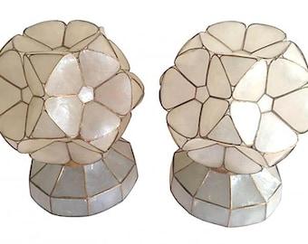 1950s Capiz Shell Flower Lamps, Pair