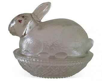 Mid Century Lidded Glass Bunny Jar