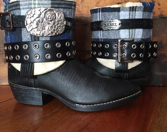 Black upcycled western cowboy boots women's size 8