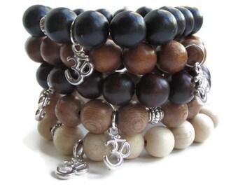 Chunky wood bead bracelet, mens bracelet, wooden beads bracelet, Om bracelet