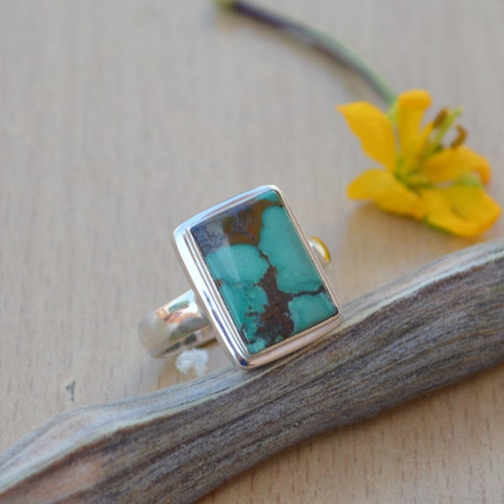 Natural Tibetan Turquoise Ring, Turquoise Gemstone Ring, Solid 925 Sterling Silver Ring, Bezel Set Ring Size 8, Turquoise Gemstone Ring