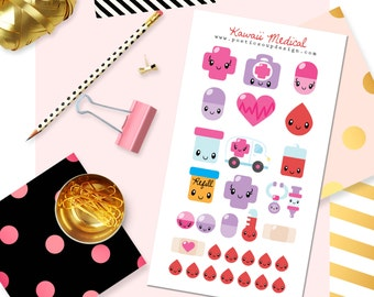 Medical Stickers, Planner Stickers, Kawaii Stickers, Erin Condren, Kawaii Medical Stickers, Agenda, Planners , Kawaii, Stickers