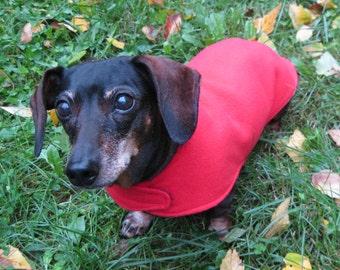 Red Dachshund Jacket~Reversible Fleece Dog Jacket~Double Layer Fleece Coat~Dachshund Clothing~Fleece Dog Jacket~Winter Dog Coat