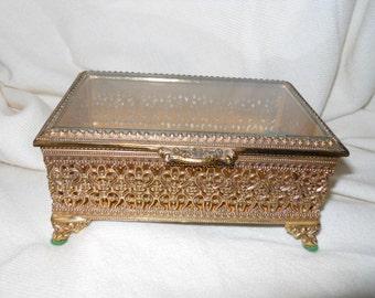 Vintage filigree metal trinket box