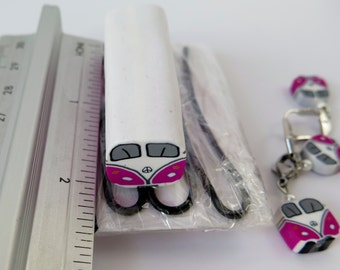 Fresh polymer clay bus /bulli cane pink