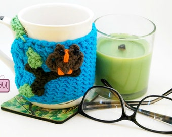 Crochet Owl Coffee Mug Cozy, Coffee Mug Sleeve, Tea Cozy, Tea Mug Sleeve, Coffee Cozy, Coffee Mug Warmer, Blue Green, Coffee Cup Cozy Active