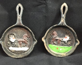 Mini equestrian cast iron vintage frying pan equestrian