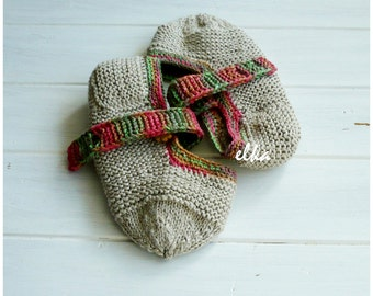 """Knitted slippers Eco / Вязаные тапочки """"Эко"""""""