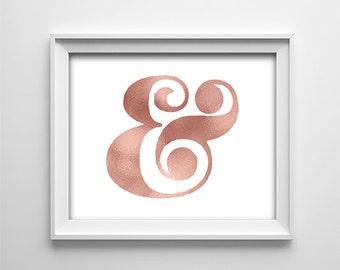 "INSTANT DOWNLOAD 8X10"" printable digital art file - Rose effect Ampersand - Nursery Decor - Wall Art - Baby - Bedroom - Office - Gallery"