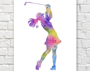 Girl Golfer Art Print - Abstract Golf Watercolor Painting - Wall Decor