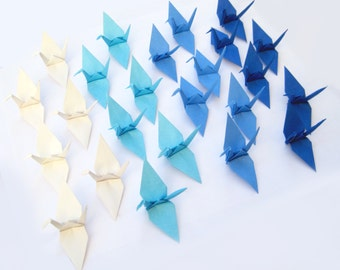 Baby Boy Baby Shower Decor | 50 Origami Cranes in Blue Mix