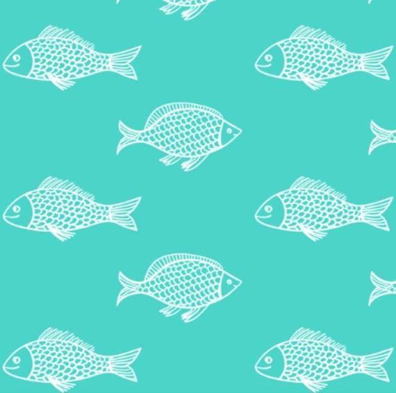 Organic Crib Sheet Teal Fish Baby Boy Nautical Bedding Boy
