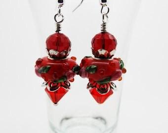 Red Drop Earrings, Red Earrings, Red Crystal Earrings, Red Jewelry, Crystal Earrings, Drop Earrings, Red Dangle Earrings, Lampwork Earrings