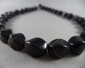 Twisted Black Agate - 12mm - 15 Inch Strand