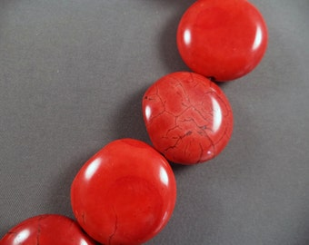 Dyed Red Howlite Coin Beads - 28mm - 16 Inch Strand