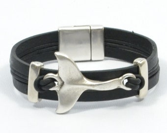 whale tail bracelet, black leather bracelet for men, men nautical bracelet, men jewelry, anniversary gift for men, nautical jewelry