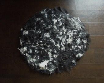 Black and White Cat Mat - Alpaca Fiber Cat Bed -  Black and White Cat Pad -  Natural Fiber Cat Mat - Alpaca Pet Pad - Pet Bedding