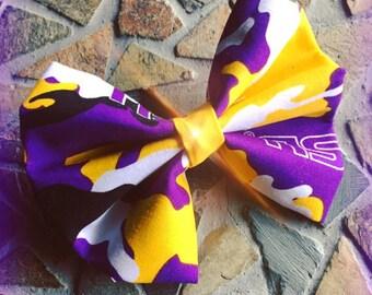 LSU LOVE: Purple and Gold Camo LSU Hair Bow Set of 2