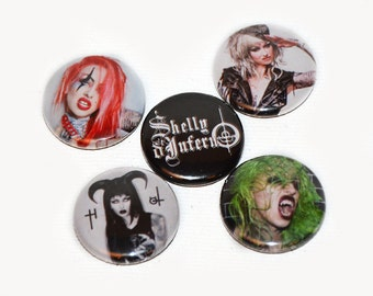 """BADGES/PINS: x5 Shelly d'Inferno badges 1"""" / 25mm pinback buttons"""