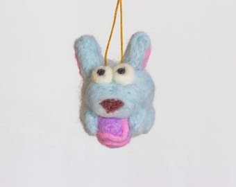 Easter bunny ornament - rabbit decor - needle felted wool animal - Easter decorations - cute spring decor - Easter gift idea