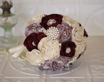 Fabric Flower Bouquet, Lace Bridal Bouquet, Cream, Dusty Pink and Burgundy Brooch Wedding Bouquet