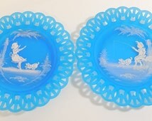 "2 Vtg Westmoreland Mary Gregory Aqua Blue Summer Lace Glass 9"" Plates Boy & Girl"