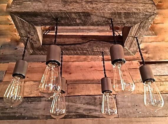 items similar to edison bulb chandelier mason jar lighting mason jar fixture edison bulb wood upcycled wood on etsy